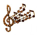 1950s style Gold Tone and coloured Rhinestone Musical Note Spray Brooch